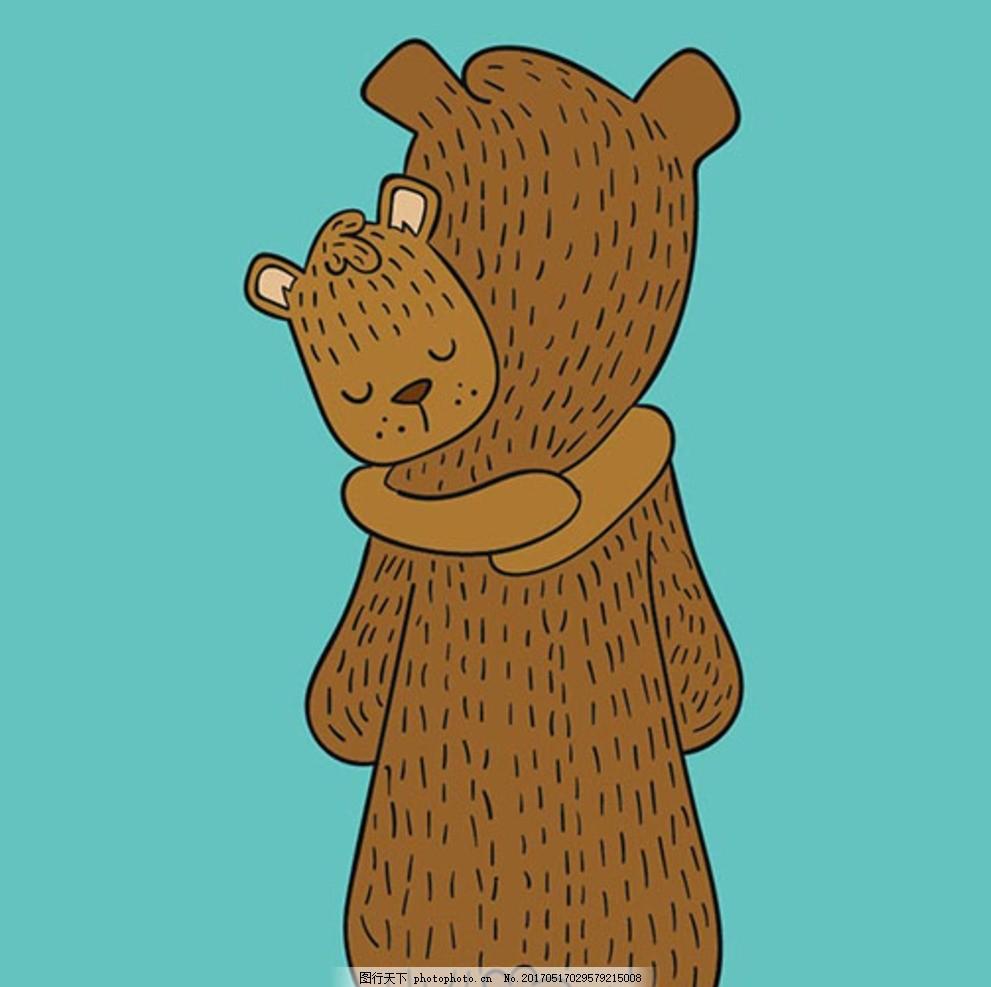 卡通父亲节小熊父子插图
