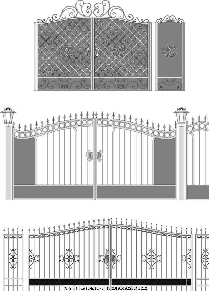 欧式风格 铁艺门 勾图 大门 金色大门 复古大门 围栏 柱子 黑色金属