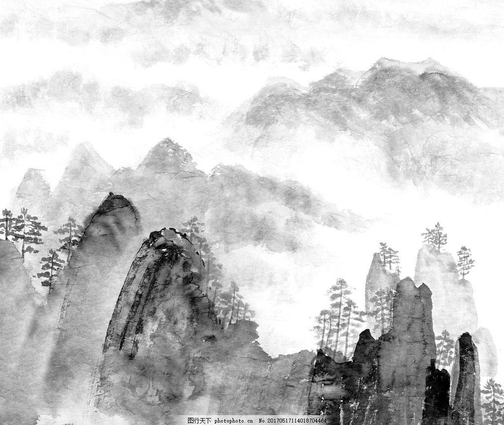 水墨山水 水墨 中国风 山水 黑白 风景水墨 设计 文化艺术 绘画书法