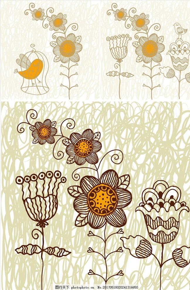 手绘线描矢量花卉背景 花卉 花开富贵 唯美线描 花瓣 花束 时尚 菊花