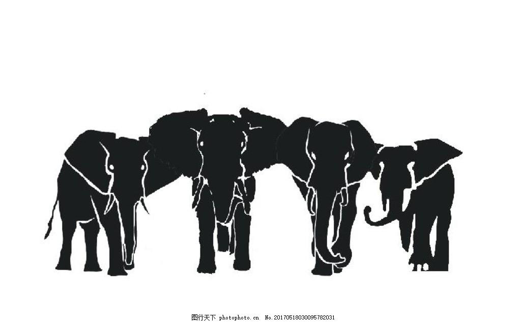 大象剪影 大象 剪影 力量 黑白 背景 设计 广告设计 海报设计 cdr图片