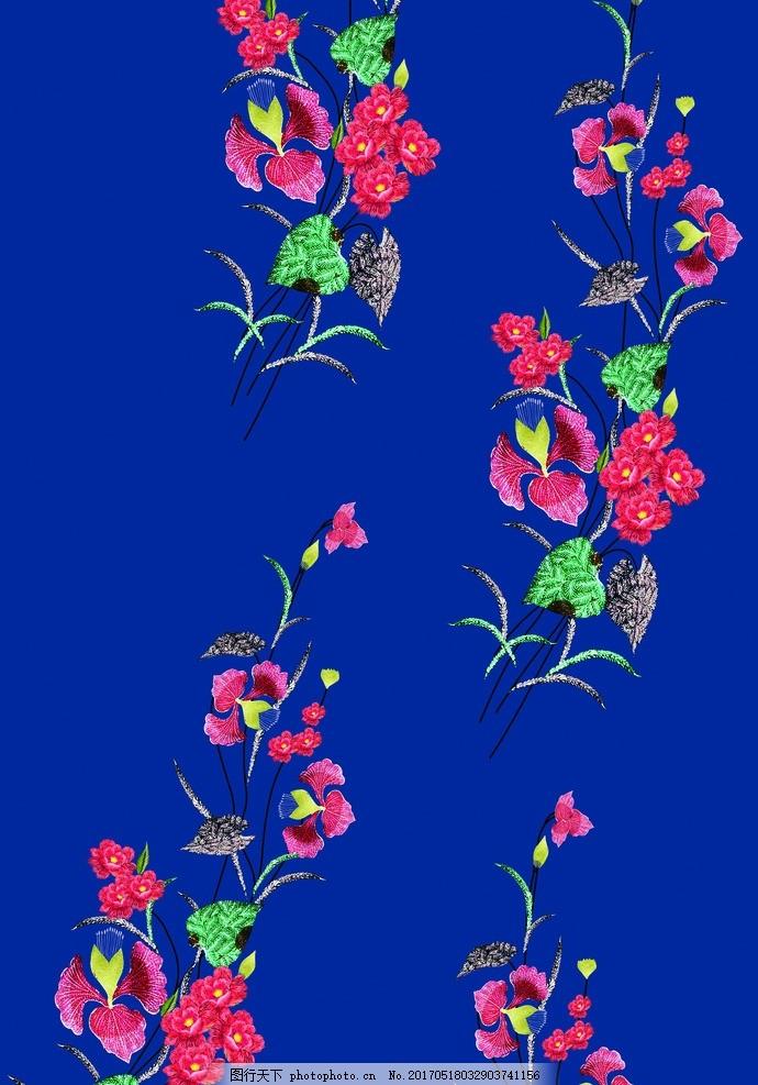 刺绣图案 绣花 花草刺绣 花朵素材 手绘花