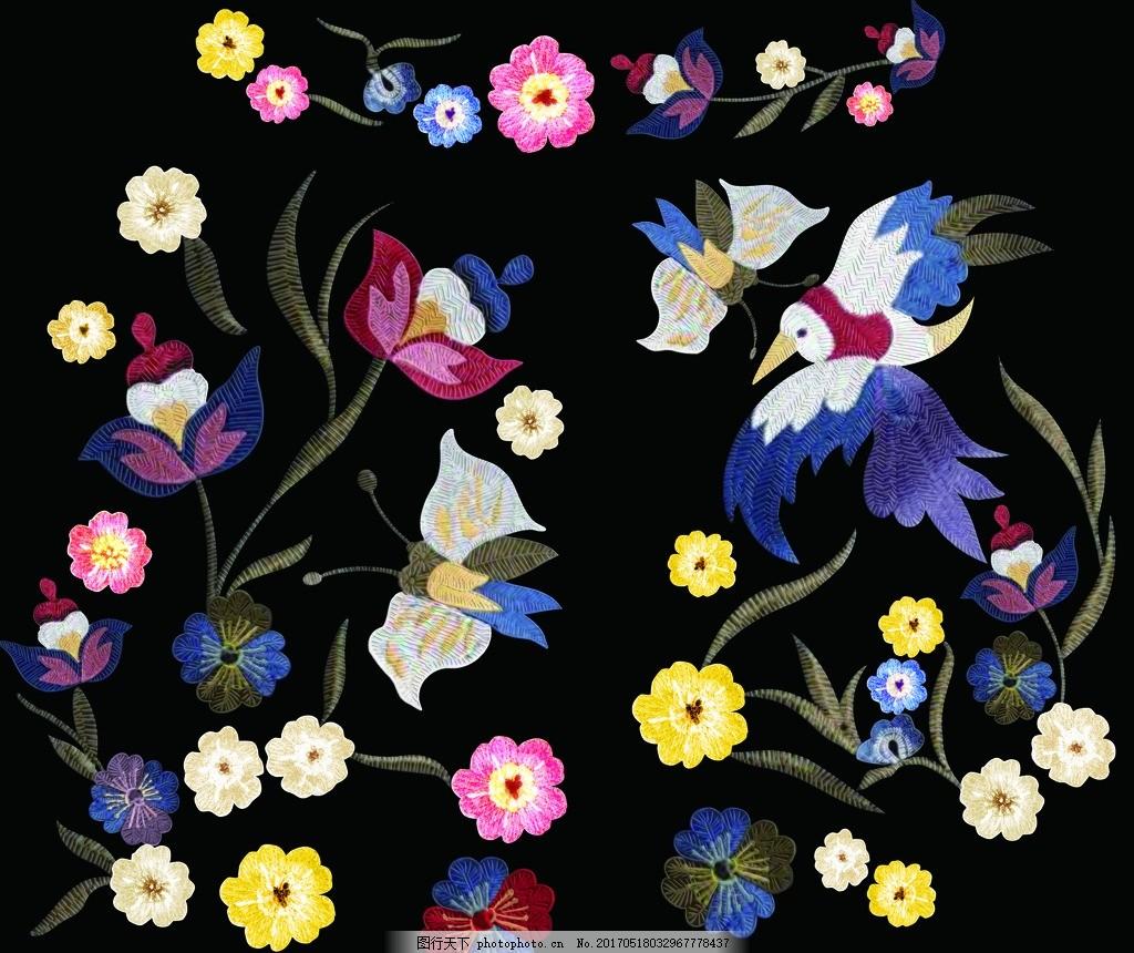 绣花图案 刺绣图案 花草刺绣 花朵素材 手绘花鸟