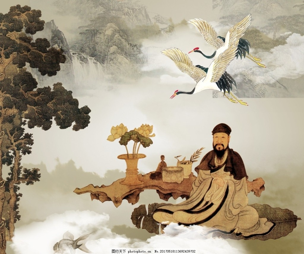 松龄鹤寿 松鹤延年 仙鹤 松树 古代 云朵 古典 设计 文化艺术 绘画