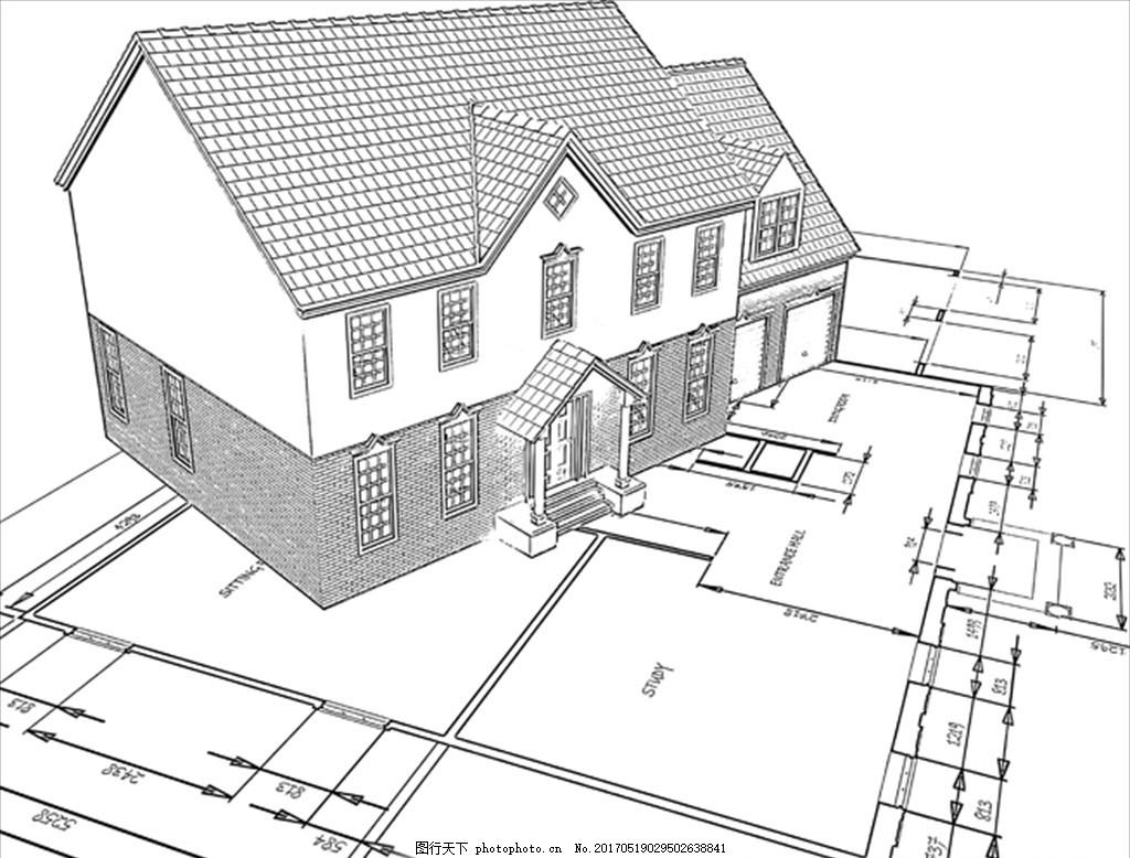 手绘素描别墅平面图
