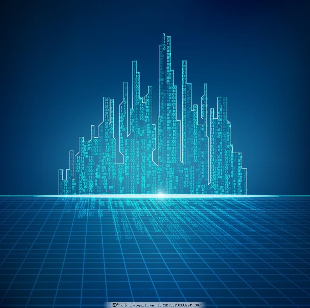 蓝色地平面科技线条建筑背景矢量