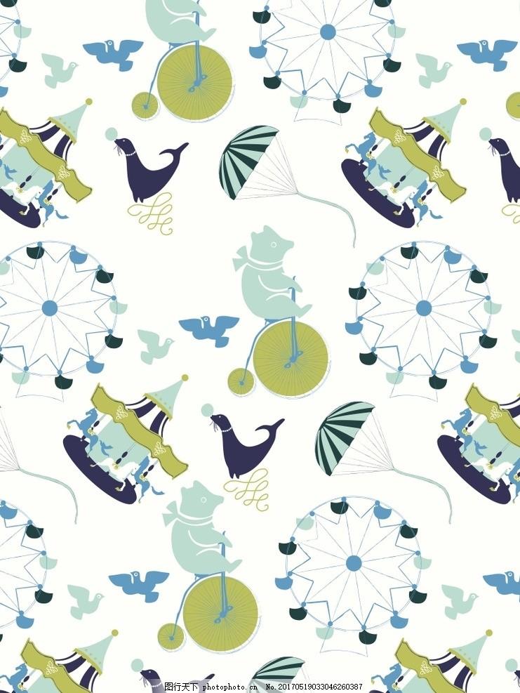 可爱图案系列矢量素材背景 布艺背景 鸟 降落伞 平面