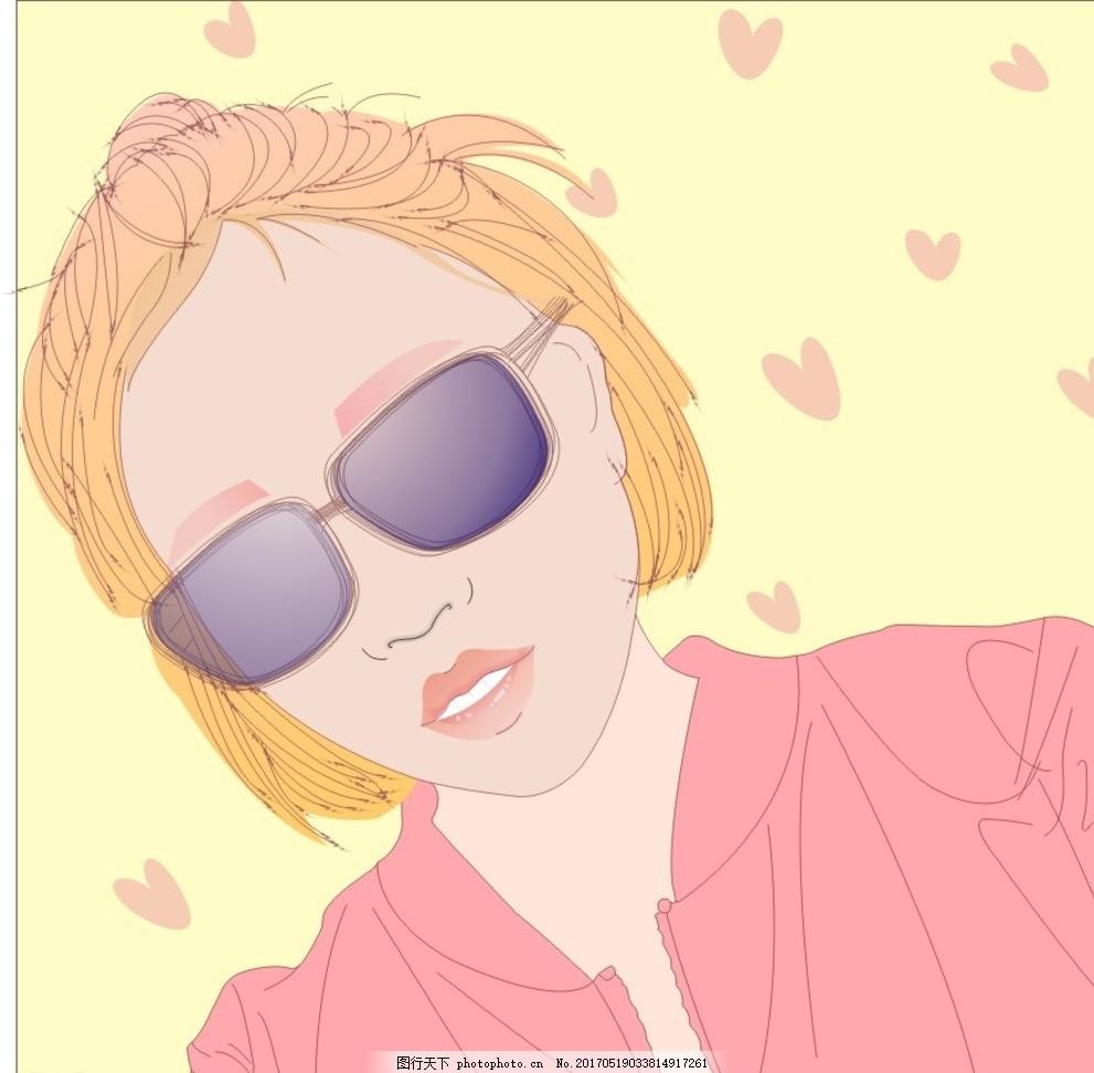 酷酷的女孩 小清新 插画 手绘 女生 文艺 漫画 卡通 可爱 图片素材