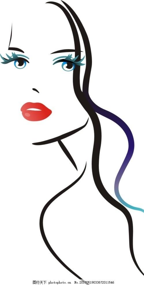 长发美女 手绘 卡通 女孩 大眼睛 红唇 插画 设计 其他 图片素材 cdr