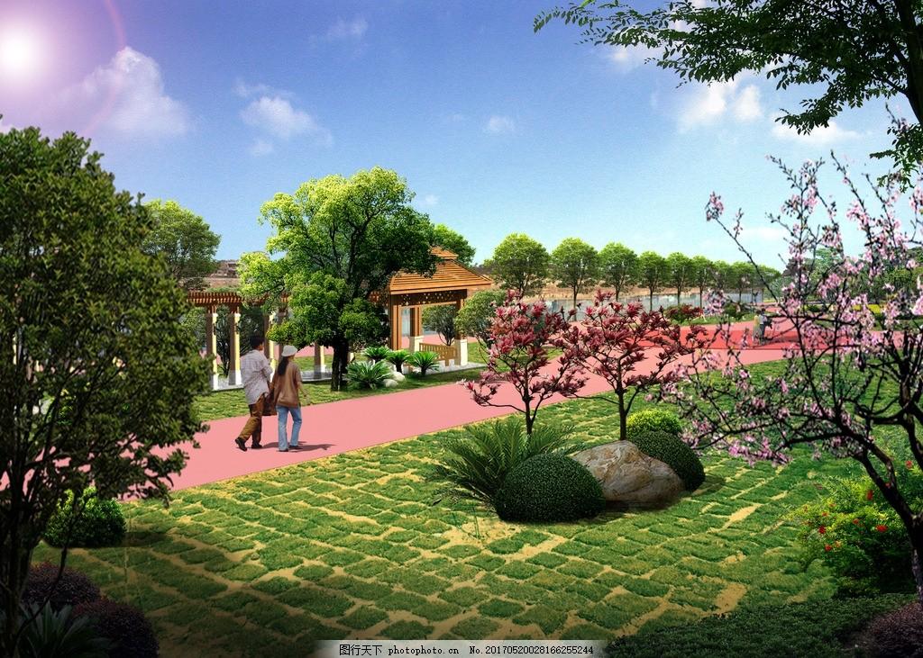 单位 河边 小公园 园林 绿化 景观 效果 带状 休闲 长廊 psd分层 设计