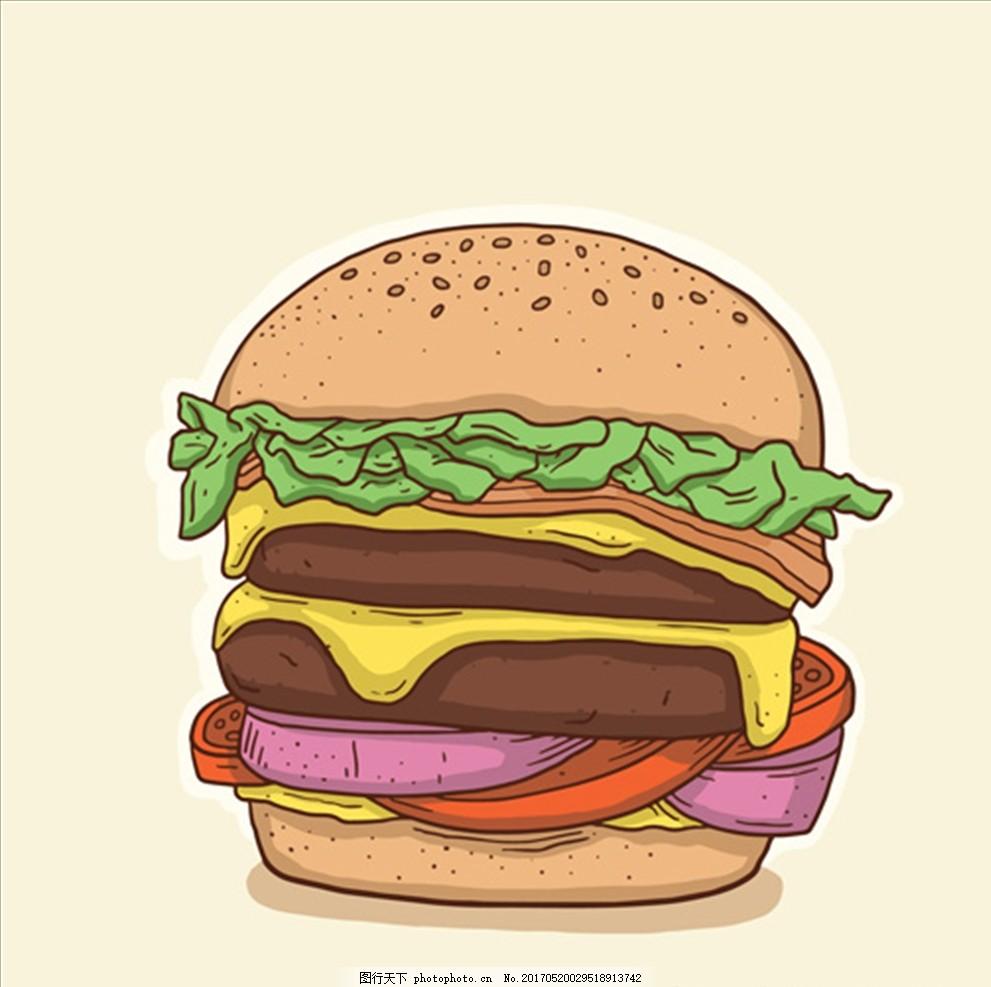 手绘汉堡彩色插图