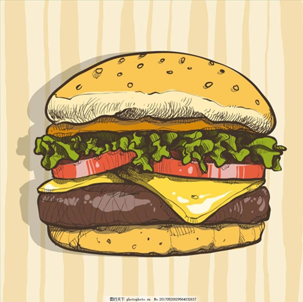 手绘芝士汉堡 汉堡海报 汉堡宣传单 学生套餐 汉堡网团 爆米花 鸡腿