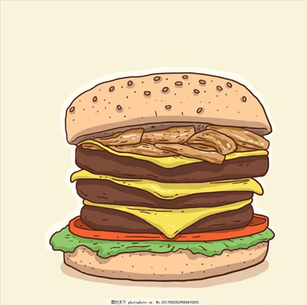 手绘经典美味的汉堡 汉堡海报 汉堡宣传单 学生套餐 汉堡网团 爆米花