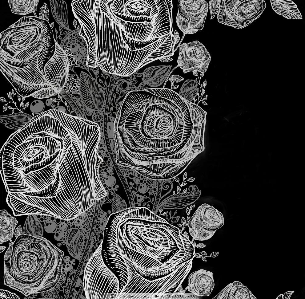玫瑰线描 粉笔画 玫瑰花 粉笔玫瑰 玫瑰线条图 玫瑰粉笔画 图片素材