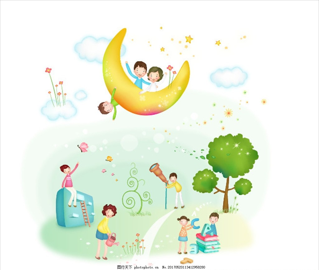 卡通快乐家庭插画 快乐一家 幸福家庭 儿童 淡彩 卡通儿童 广告设计