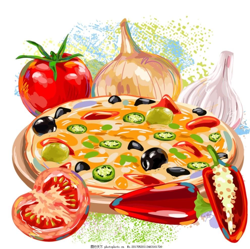 披萨海报 手绘披萨 必胜客 洋葱 西红柿 中餐 午餐 晚餐 晚宴 海鲜