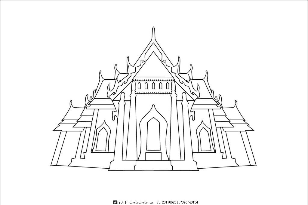 印度建筑 房屋 线稿 设计图案 底纹边框 条纹线条