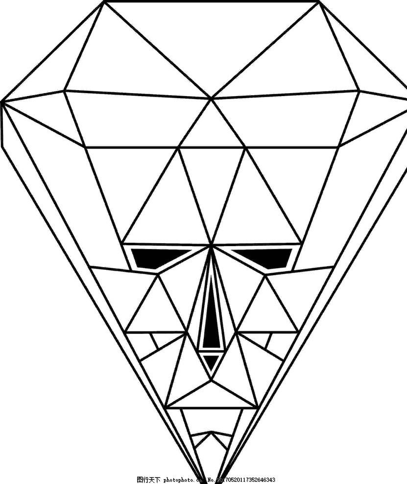 幾何線稿 幾何 圖形 鉆石 人臉 線稿 繡花圖案 設計 底紋邊框 條紋