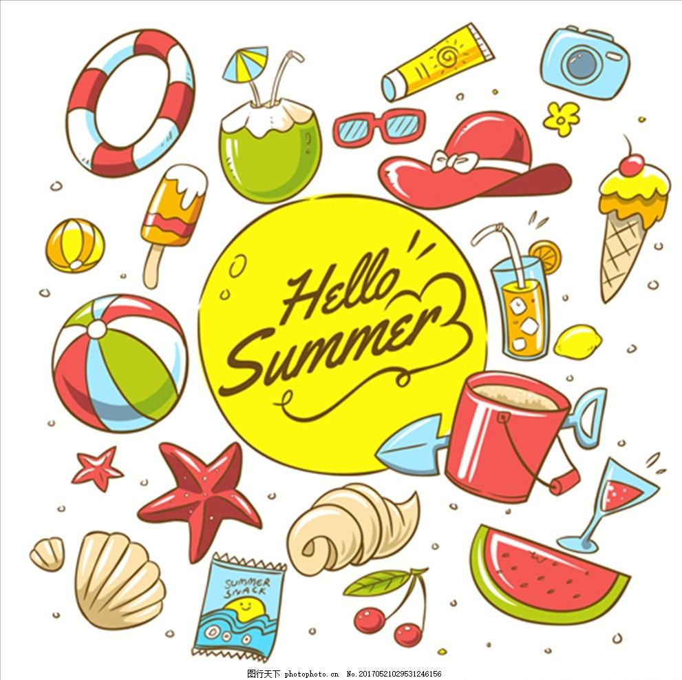 手绘卡通夏季元素海报 夏天 鱼 海螺 鲨鱼 海豚 鲸鱼 珊瑚 海星