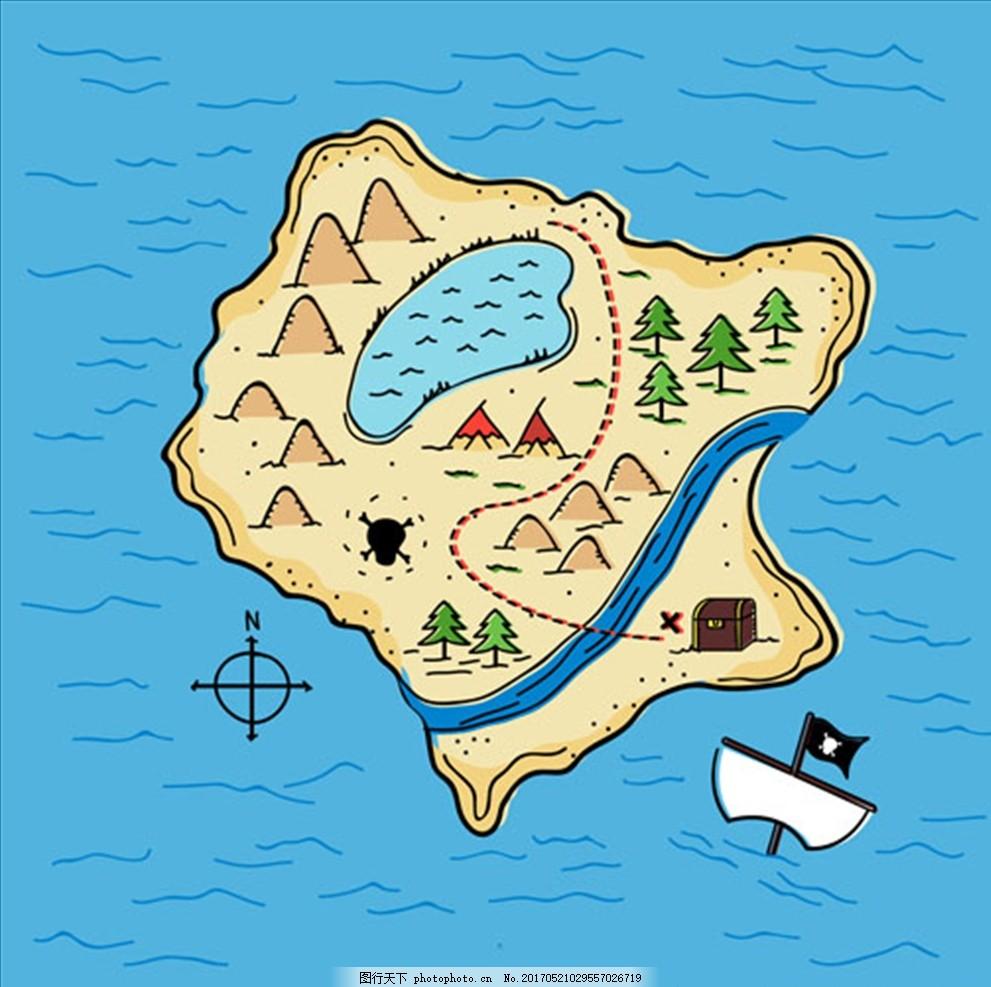 手绘卡通海盗宝藏地形图