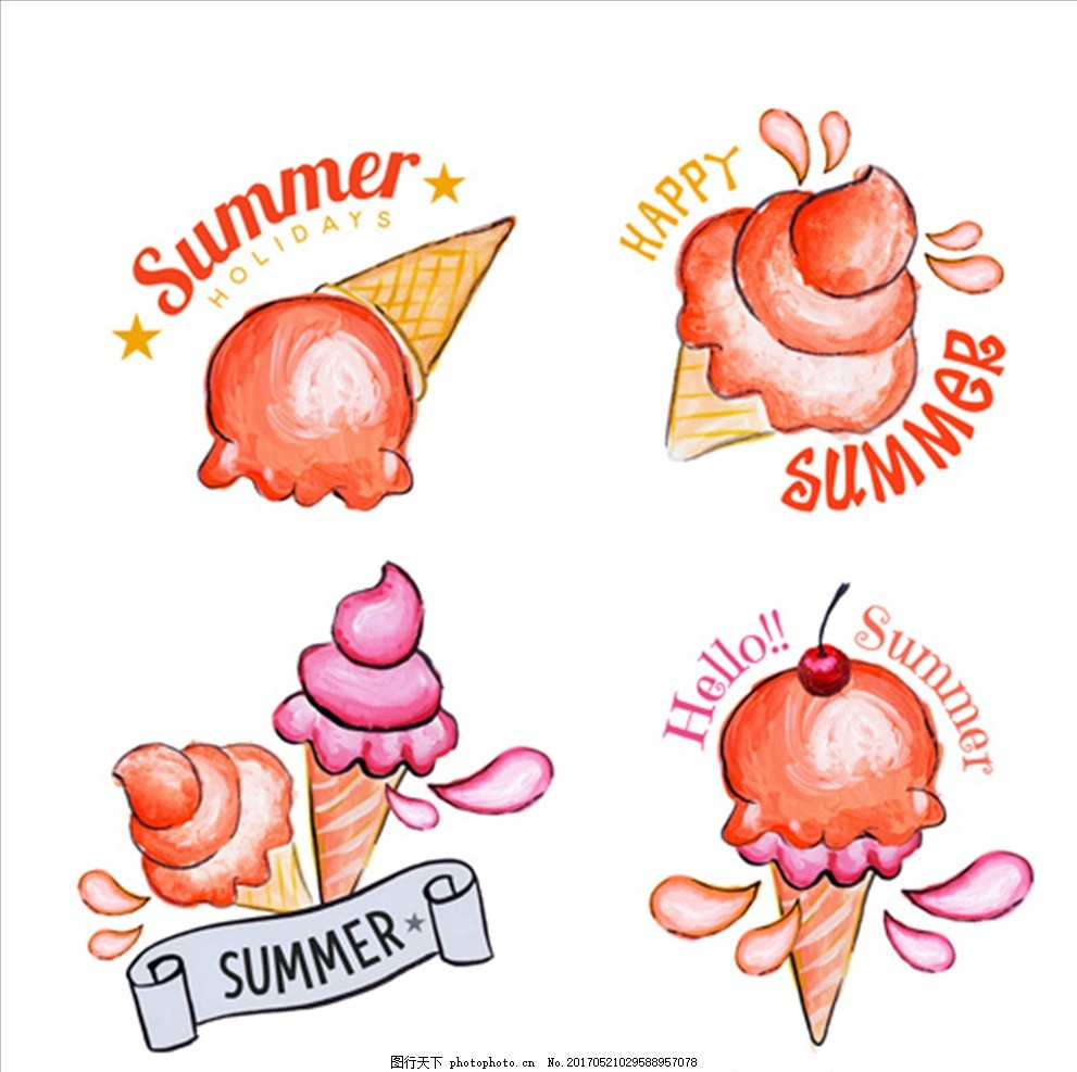 手绘水彩夏季冰淇淋