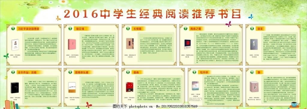 中学生经典阅读推荐书目 书本 书籍介绍 绿色 宣传栏 海报 展板图片