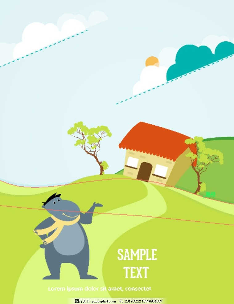 矢量扁平化卡通插画海报可爱动物