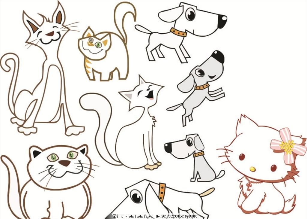 动物 猫 狗 可爱 肥猫 瘦猫 可爱小猫 小狗 小猫 矢量图 cdr 设计