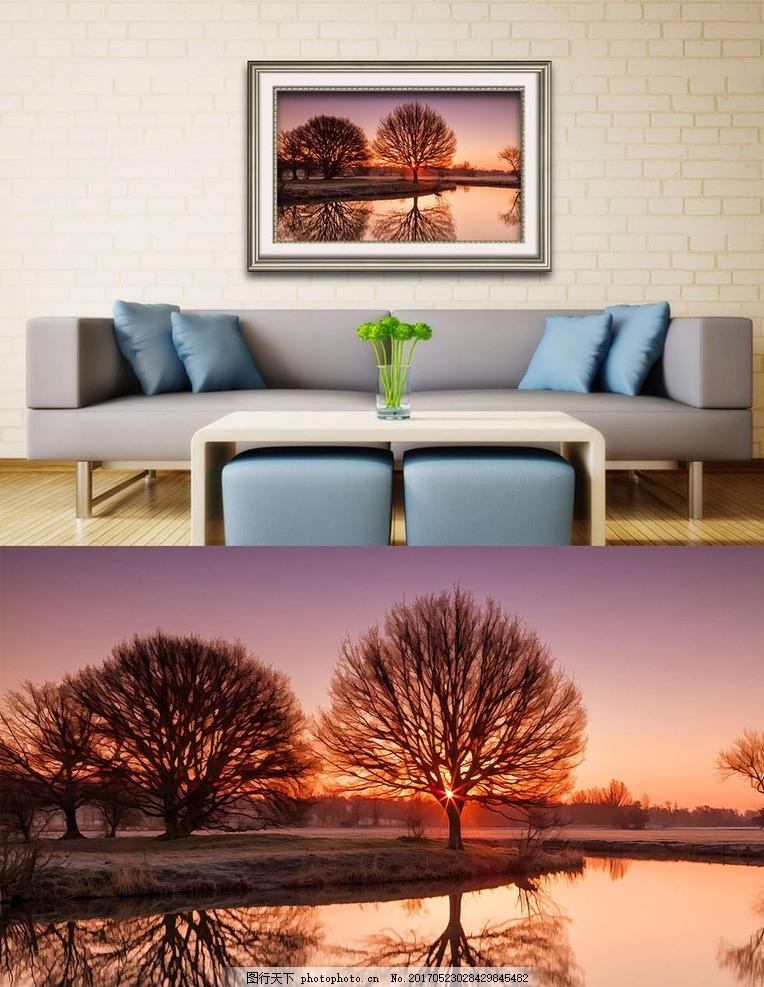 夕阳树影艺术壁画 油画框 壁画 风景 油画 欧式油画 艺术画 画框 客厅