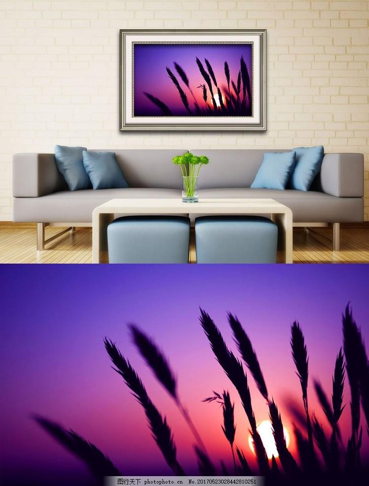 夕阳中的遐想艺术壁画,油画框 风景 欧式油画 艺术画