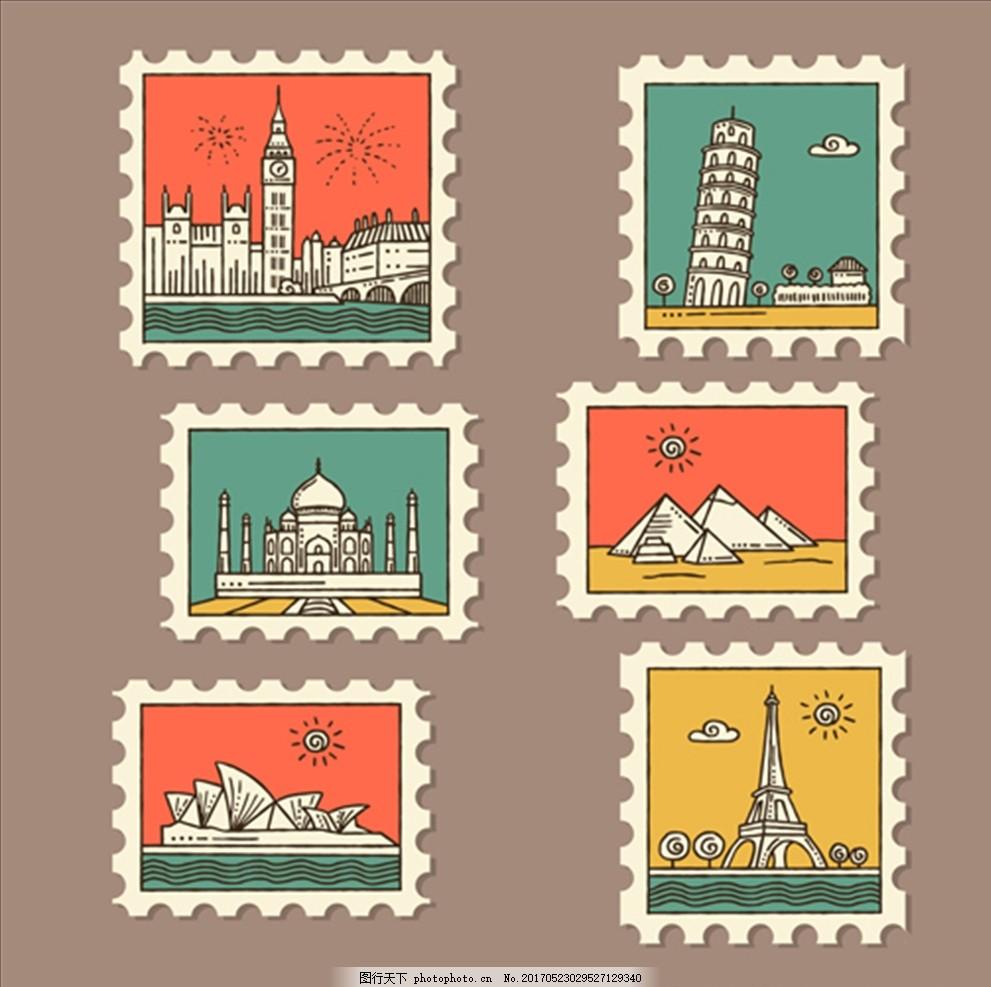 一套彩色的城市邮票 时尚手绘花鸟 时尚邮票 贴纸 时尚邮票贴纸