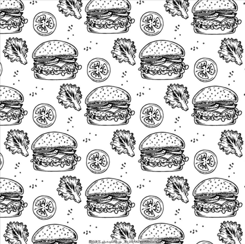 手绘汉堡快餐背景