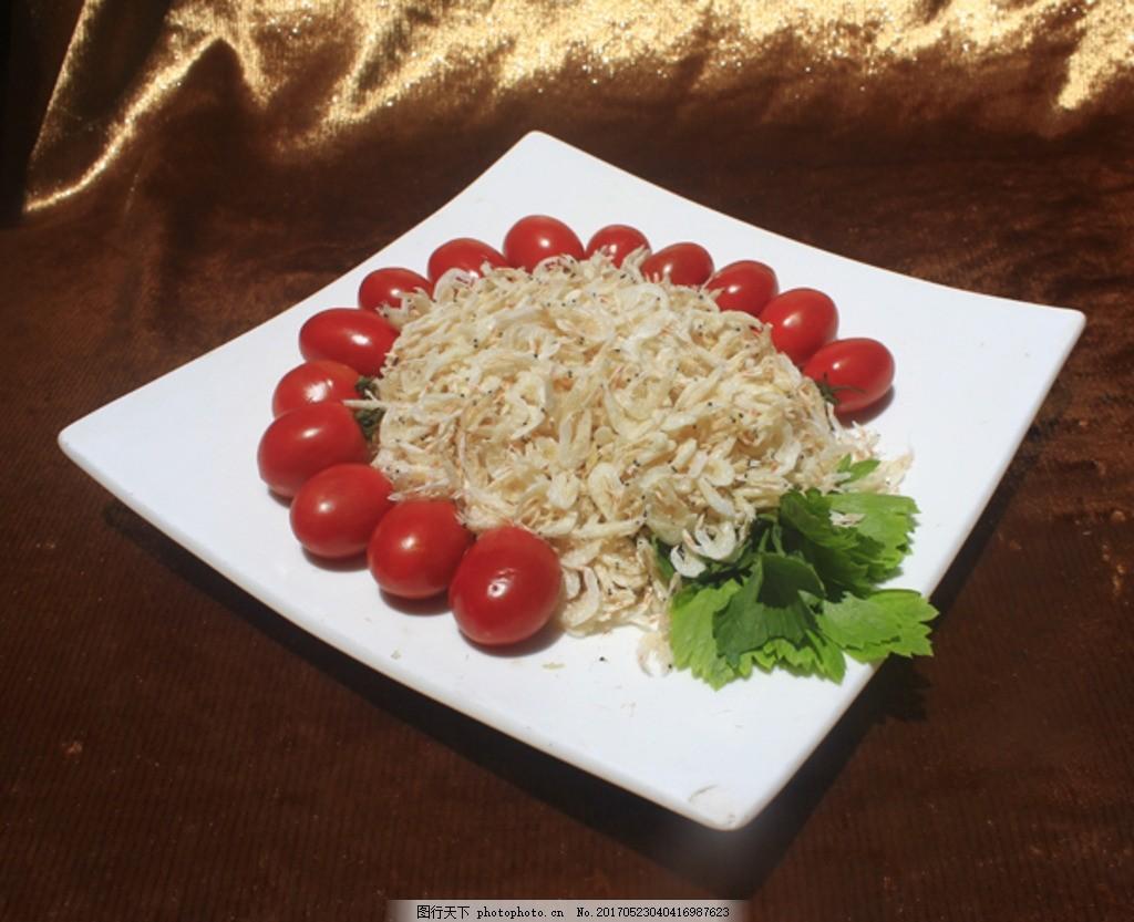 虾皮 西红柿 盘子 方形 海鲜 干货 虾 干 摄影 餐饮美食 食物原料 72d