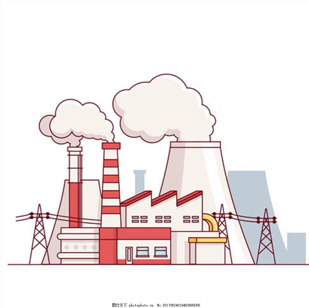办公商务人物矢量 手绘建筑物 建筑物 卡通建筑 烟囱 工厂 冒烟 设计