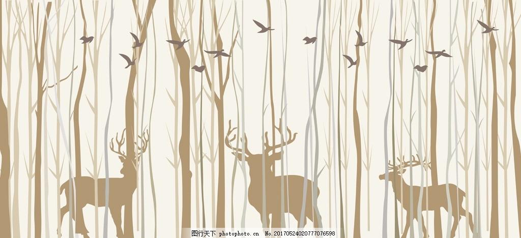 手绘抽象森林鹿小鸟背景墙