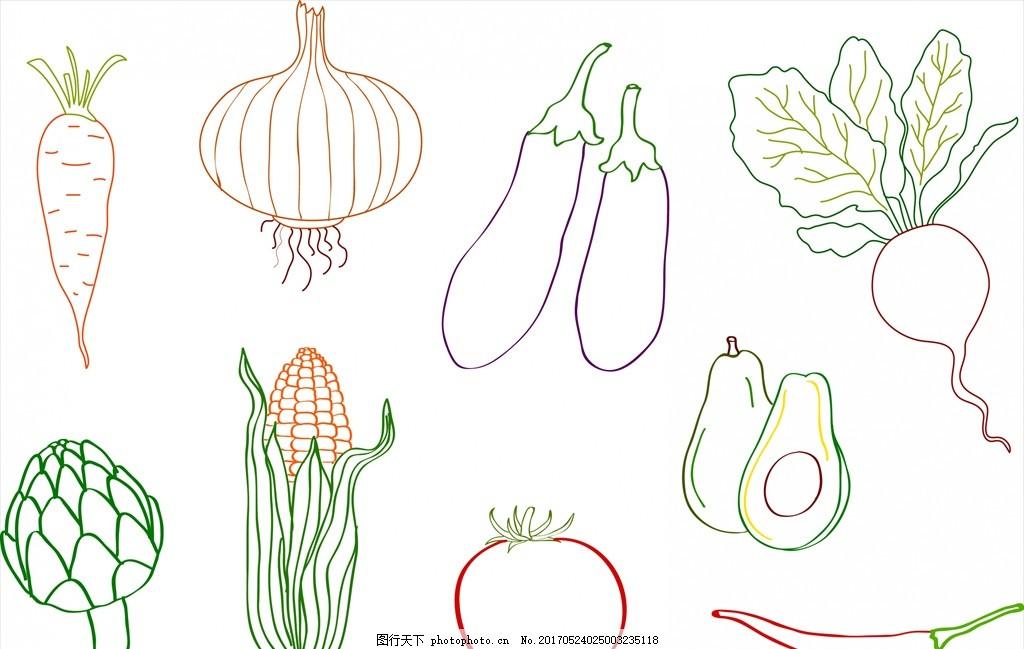 线描蔬菜 蔬菜 线描 手绘 简笔画 矢量 食品蔬菜水果 设计 生物世界图片