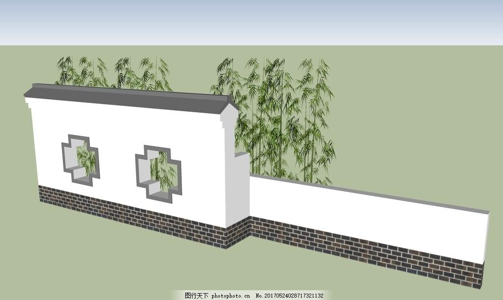 su景墙模型 中式景墙 欧式景墙 徽派建筑 徽派景墙 景观设计