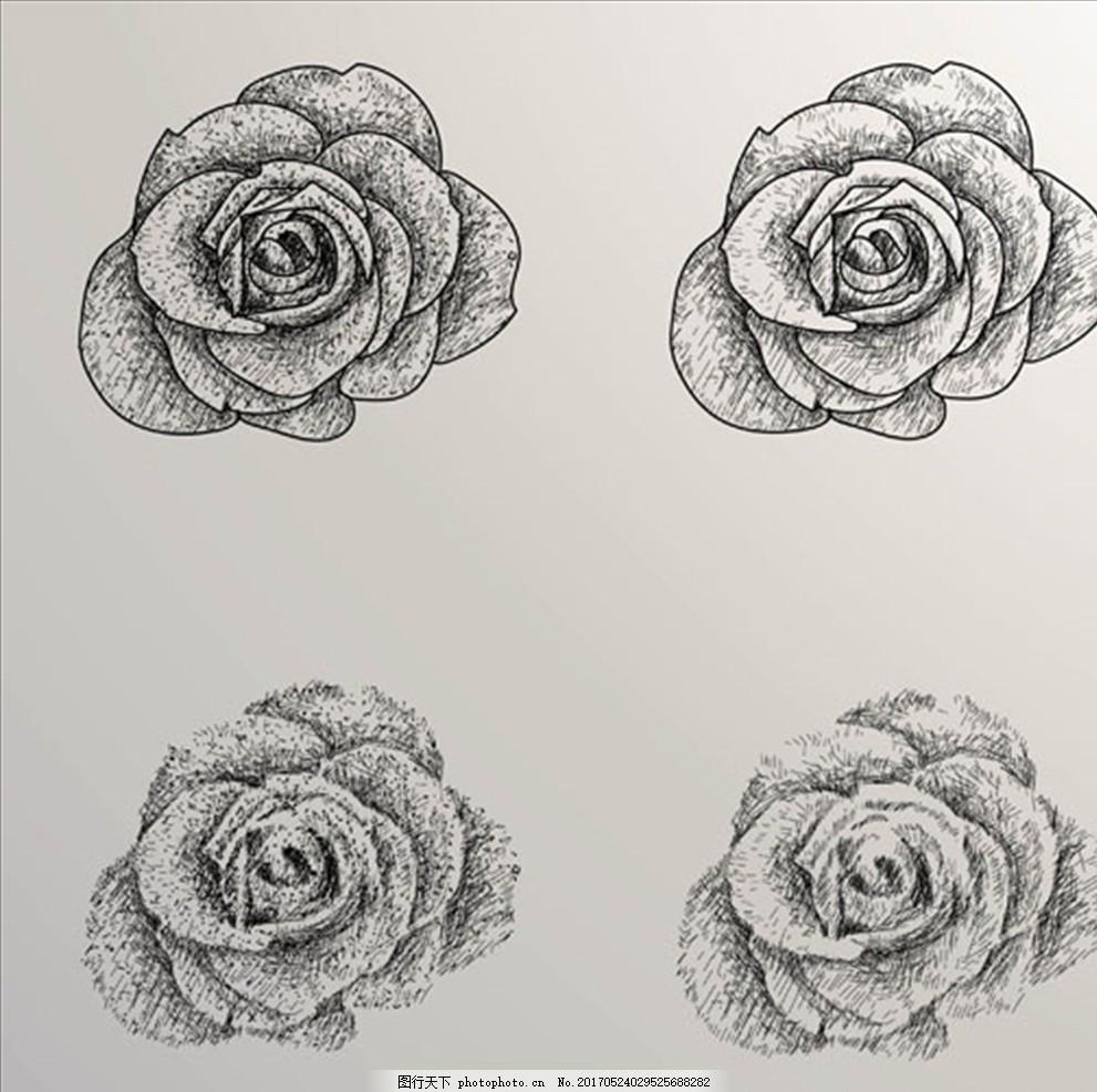 手绘玫瑰花过程 手绘 素描 线稿 矢量 人物 动物 建筑 风景 景色 手绘