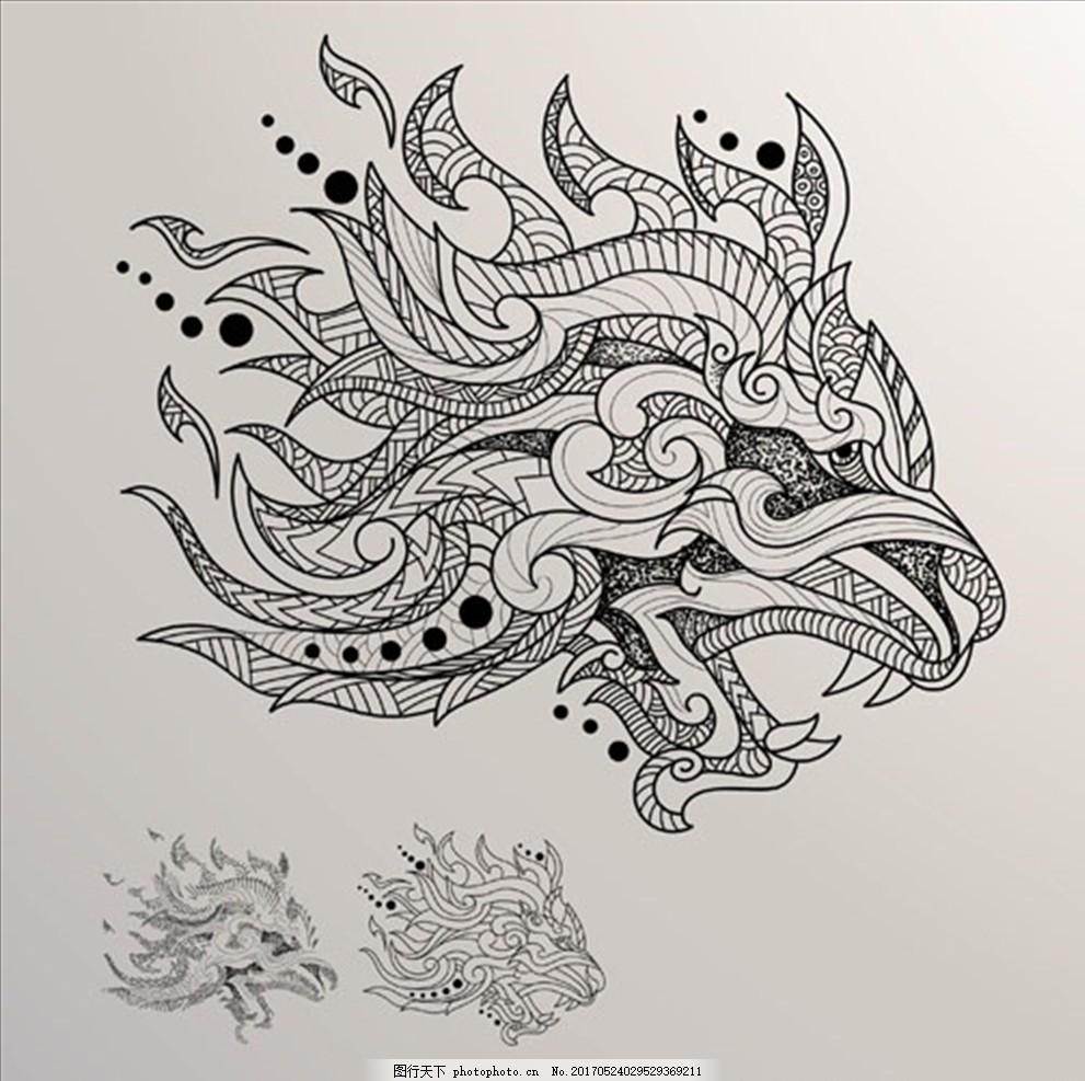 手绘狼头 手绘 素描 线稿 矢量 人物 动物 建筑 风景 景色 手绘人物