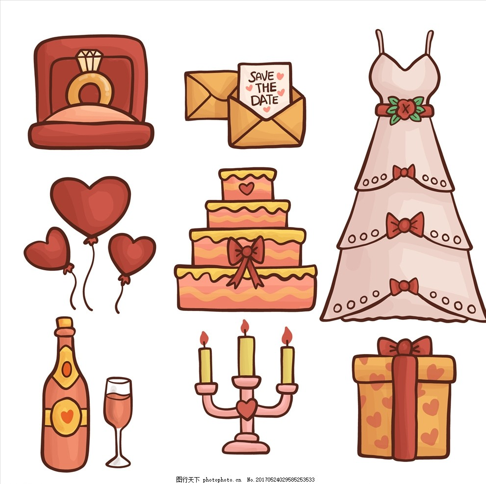 卡通情侣婚纱小人