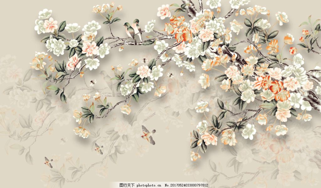 手绘花鸟图 竹林背景墙 子 绿竹 竹报 平安 壁画 风景 电视背景墙
