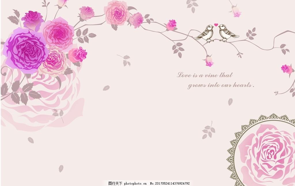 田园碎花欧式花纹玫瑰背景墙 小清新 藤蔓 广告设计 其他