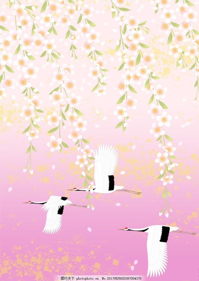 和风图案 梦幻背景 底纹 日式花纹背景 艳丽色彩 背景 色彩 时尚花纹
