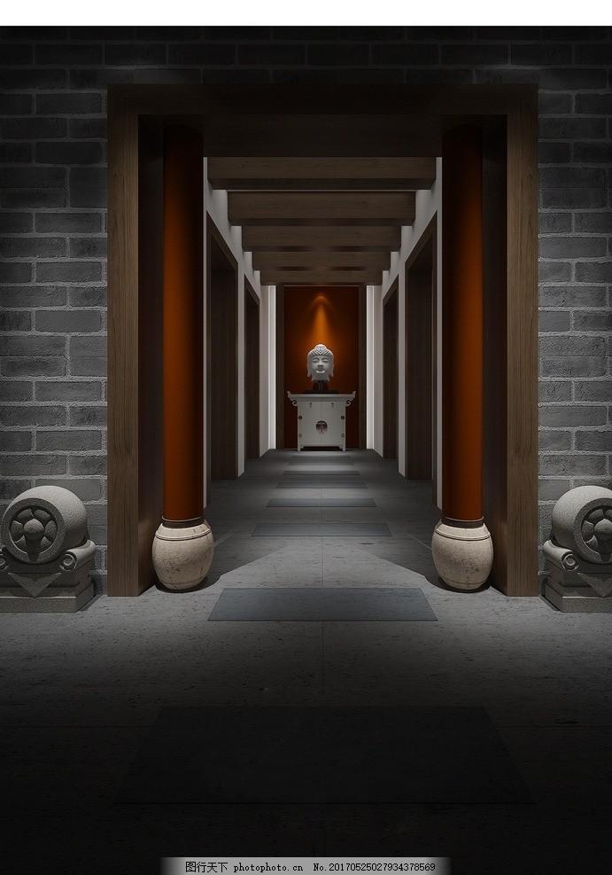 家装佛堂走廊效果 家装客厅效果 室内设计 装饰 装修 混搭风格 实景图