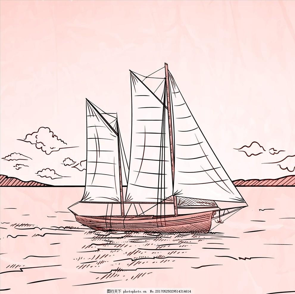 老式军舰简笔画