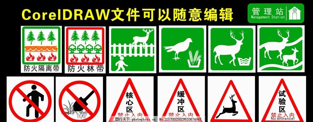 自然保护区标识牌 动物标识 景区标牌 禁止进入 森林标识