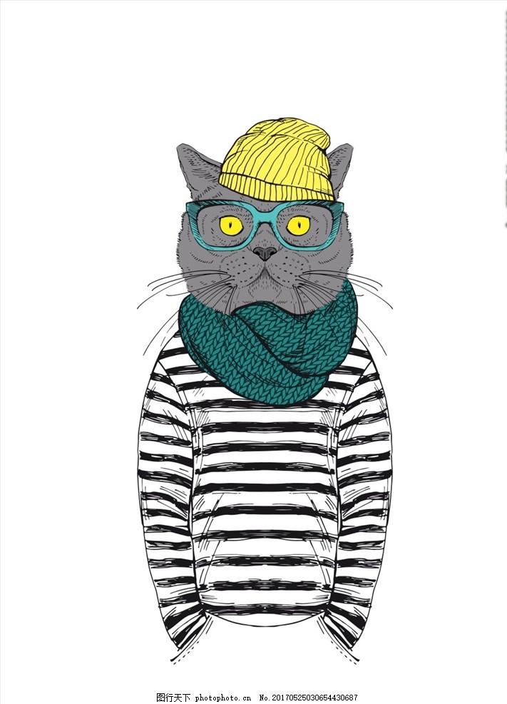可爱卡通猫素材下载卡通插画素材