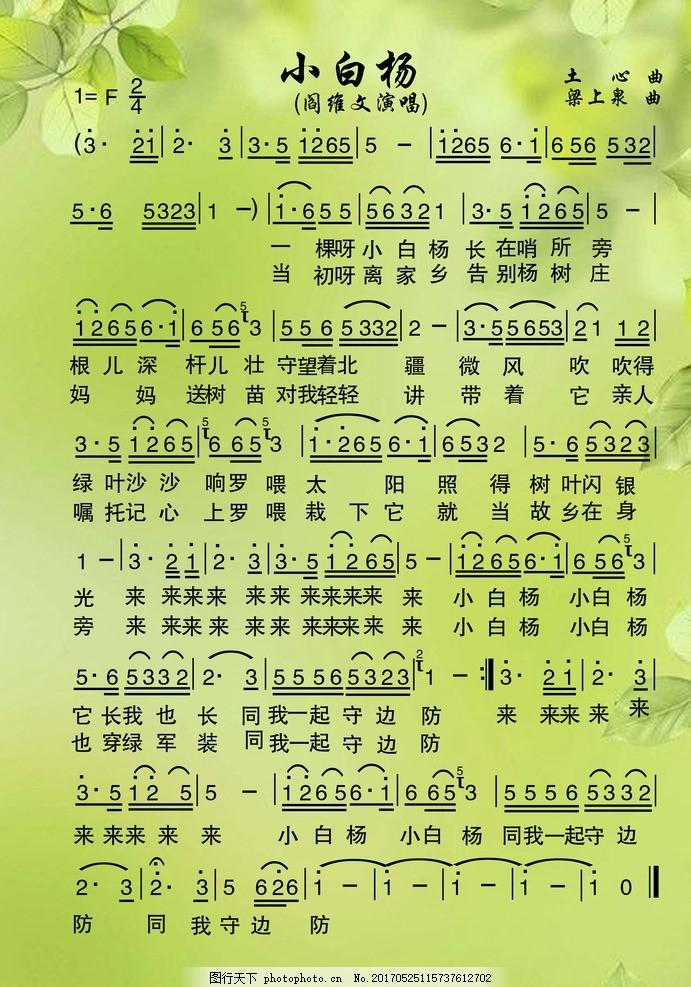 小白杨 歌谱简谱 简谱 歌谱 歌词 文化艺术 中国文化 舞蹈音乐 分层