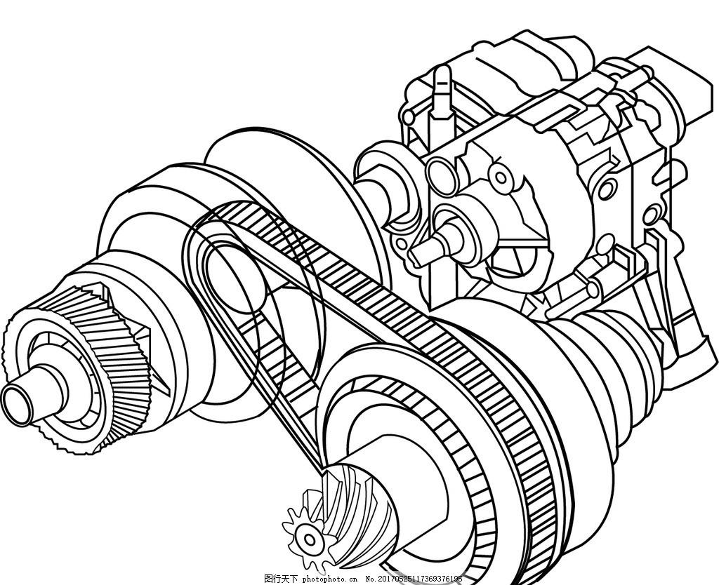 汽车发动机先描图 发动机 发动机线描 汽车发动机 发动机线稿 发动机