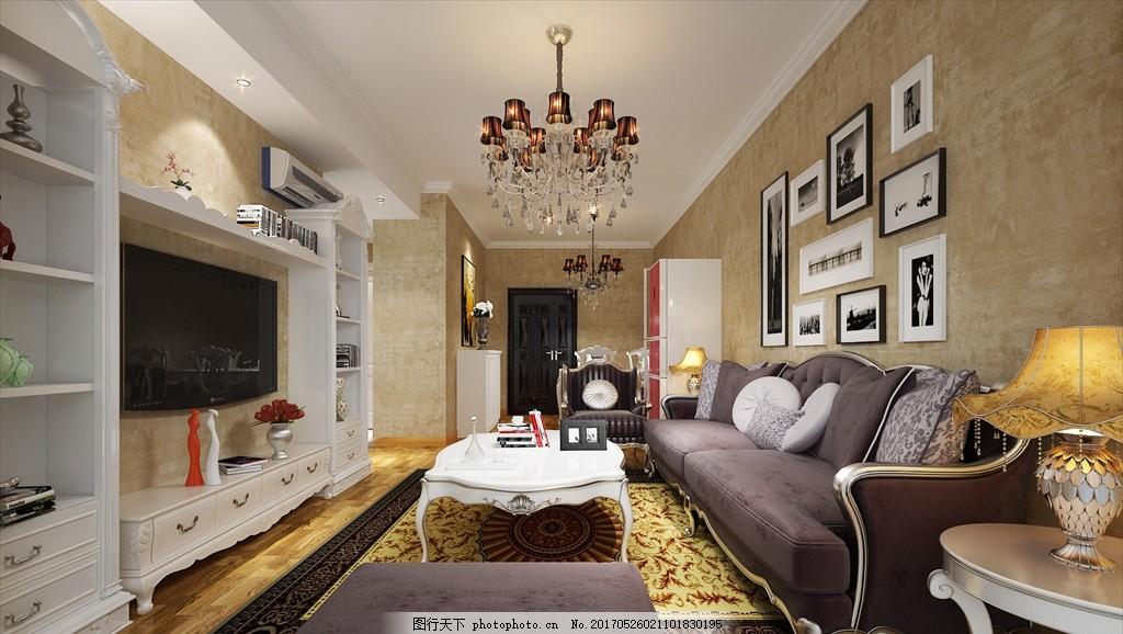 现代欧式客厅餐厅效果图 白色电视柜 白框画 沙发 吊灯 台灯 家装效果